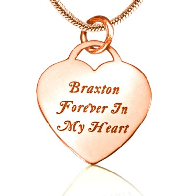 Personalised Forever in My Heart Necklace - 18ct Rose Gold Plated - AMAZINGNECKLACE.COM