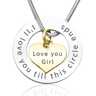 Personalised Circle My Heart Necklace - Two Tone HEART in Gold - AMAZINGNECKLACE.COM