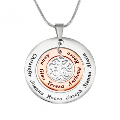 Personalised Circles of Love Necklace - TWO TONE - Rose Gold  Silver - AMAZINGNECKLACE.COM