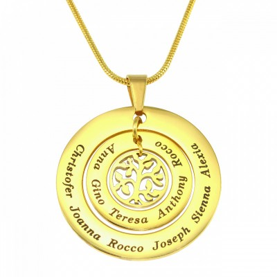 Personalised Circles of Love Necklace Tree - 18ct Gold Plated - AMAZINGNECKLACE.COM