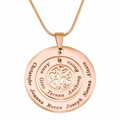 Personalised Circles of Love Necklace Tree - 18ct Rose Gold Plated - AMAZINGNECKLACE.COM