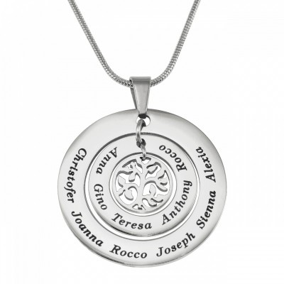Personalised Circles of Love Necklace Tree - Silver - AMAZINGNECKLACE.COM