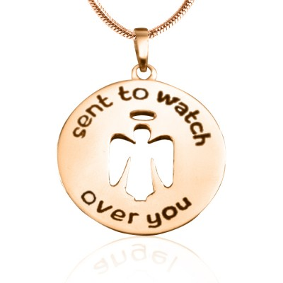 Personalised Guardian Angel Necklace 2 - 18ct Rose Gold Plated - AMAZINGNECKLACE.COM