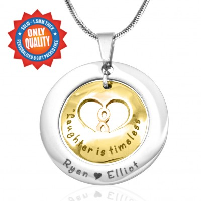 Personalised Infinity Dome Necklace - Two Tone - Gold Dome  Silver - AMAZINGNECKLACE.COM