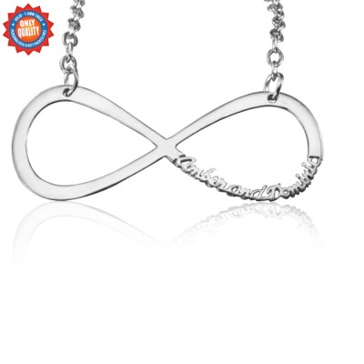 Personalised Classic Infinity Name Necklace - Sterling Silver - AMAZINGNECKLACE.COM