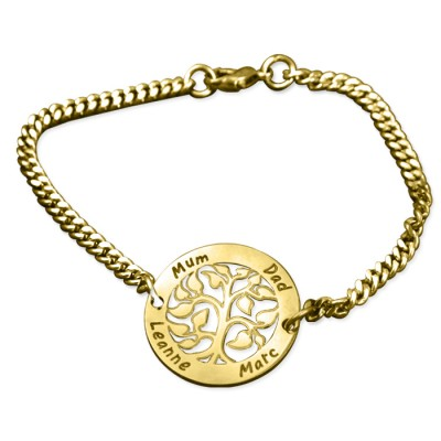 Personalised My Tree Bracelet - 18ct Gold Plated - AMAZINGNECKLACE.COM