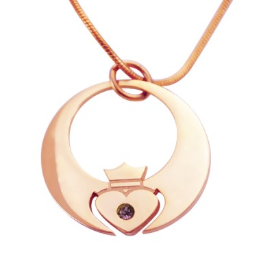 Personalised Queen of My Heart Necklace - 18ct Rose Gold Plated - AMAZINGNECKLACE.COM