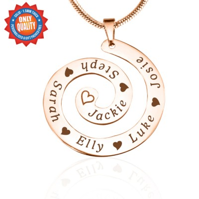 Personalised Swirls of Time Necklace - 18ct Rose Gold Plated - AMAZINGNECKLACE.COM