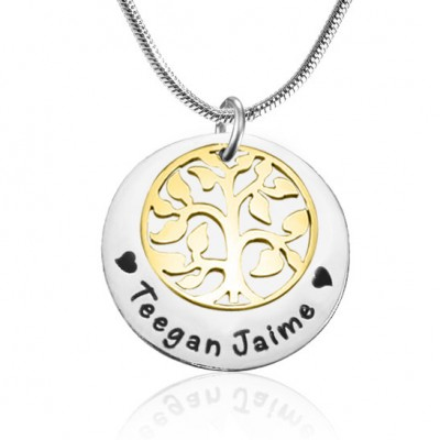 Personalised My Family Tree Single Disc - Two Tone - Gold  Silver - AMAZINGNECKLACE.COM