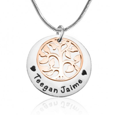 Personalised My Family Tree Single Disc - Two Tone - Rose Gold  Silver - AMAZINGNECKLACE.COM