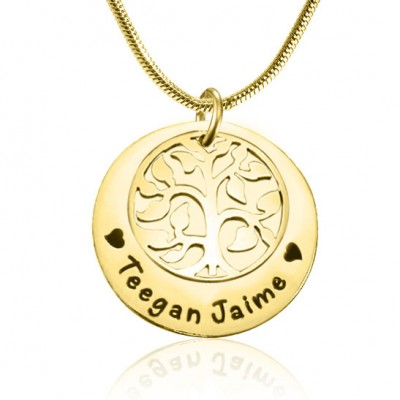Personalised My Family Tree Single Disc - 18ct Gold Plated - AMAZINGNECKLACE.COM