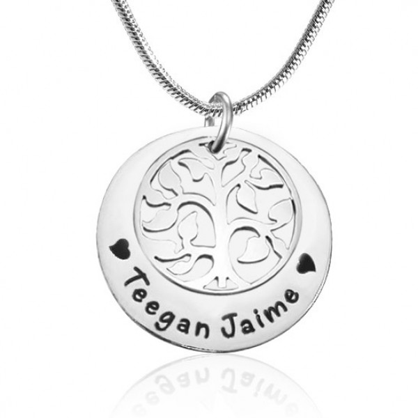 Personalised My Family Tree Single Disc - Sterling Silver - AMAZINGNECKLACE.COM