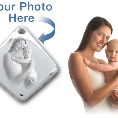 925 Sterling Silver 3D Diamond Photo / Picture Engraved Pendant - Custom - AMAZINGNECKLACE.COM