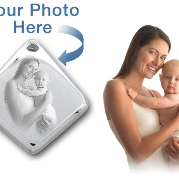 925 Sterling Silver 3D Diamond Photo / Picture Engraved Pendant - Custom - AMAZINGNECKLACE.COM