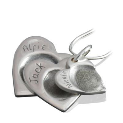 925 Sterling Silver FingerPrint Cascade Triple Heart Pendant - AMAZINGNECKLACE.COM