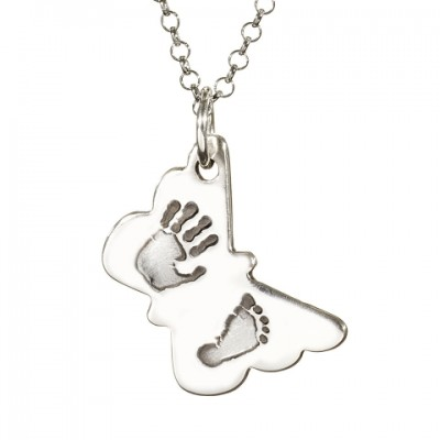 Butterfly Hand Foot Print Personalised Necklace - AMAZINGNECKLACE.COM
