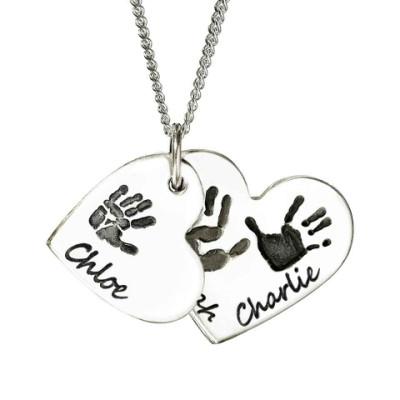 925 Sterling Silver Hand/Footprint Cascade Double Heart Pendant - AMAZINGNECKLACE.COM