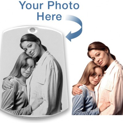 925 Sterling Silver Photo In Circle Pendant Dog Tag - AMAZINGNECKLACE.COM
