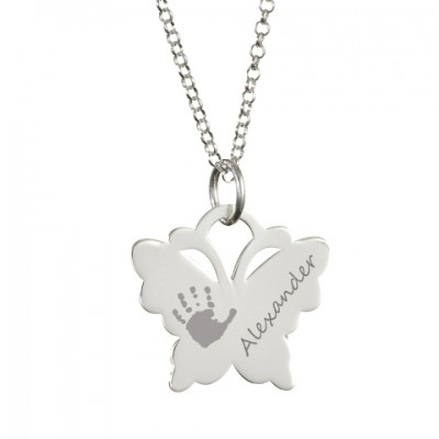 Engraved Butterfly Handprint Personalised Necklace - AMAZINGNECKLACE.COM