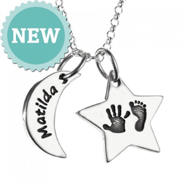 Moon & Star Hand & Foot Print Personalised Necklace - AMAZINGNECKLACE.COM
