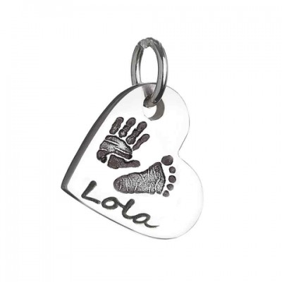 925 Sterling Silver Hand / Footprint Heart Charm Personalised Necklace - AMAZINGNECKLACE.COM