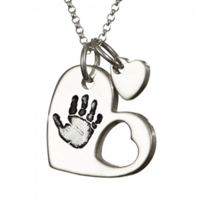 925 Sterling Silver Cut Out Heart Handprint Personalised Necklace - AMAZINGNECKLACE.COM