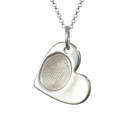 925 Sterling Silver FingerPrint Cascade Heart Pendant - AMAZINGNECKLACE.COM