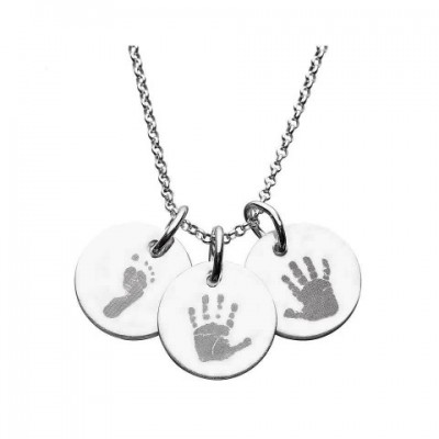 925 Sterling Silver Hand/Footprint Engraved Disc Pendant - AMAZINGNECKLACE.COM