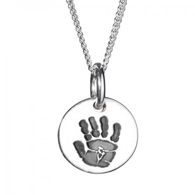 925 Sterling Silver Hand / Footprint Medium Circle Pendant - AMAZINGNECKLACE.COM