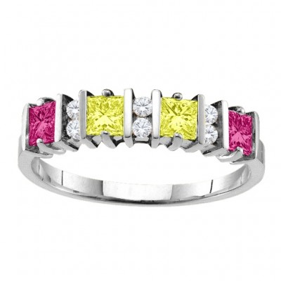 Echo  2-6 Princess Cut Stones Personalised Ring With Accents  - AMAZINGNECKLACE.COM