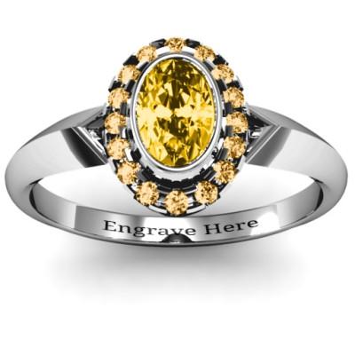 Royal  Bezel Set Oval Cluster Personalised Ring - AMAZINGNECKLACE.COM