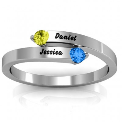 Soleil  Tipped Bypass Personalised Ring - AMAZINGNECKLACE.COM
