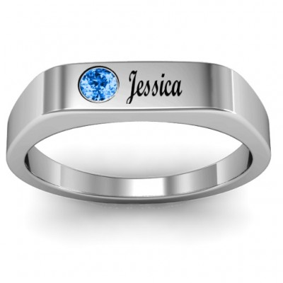 Soliloquy  Stone and Name Personalised Ring  - AMAZINGNECKLACE.COM