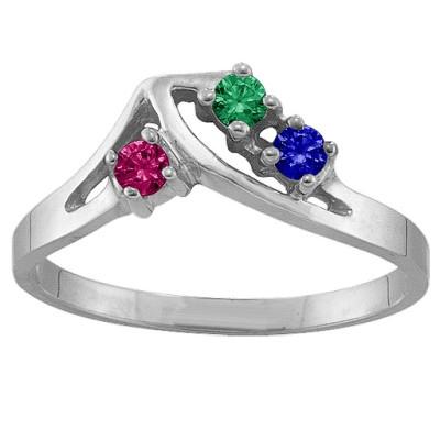 1-5 Stone Crest Personalised Ring  - AMAZINGNECKLACE.COM