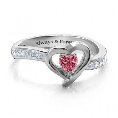 18ct White Gold Falling For You Accented Heart Personalised Ring - AMAZINGNECKLACE.COM