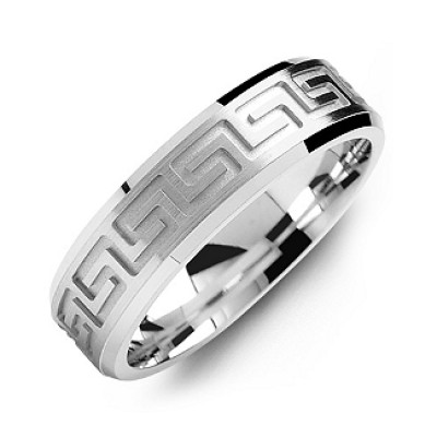 Greek Key Eternity Grooved Men's Personalised Ring - AMAZINGNECKLACE.COM