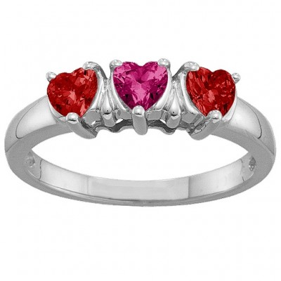 2-5 Hearts Personalised Ring - AMAZINGNECKLACE.COM