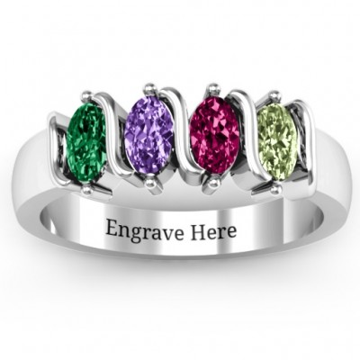 2-5 Oval Stones Personalised Ring  - AMAZINGNECKLACE.COM