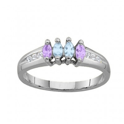 3-6 Marquise Personalised Ring With Channel Set Accents - AMAZINGNECKLACE.COM