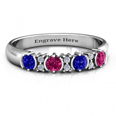 3-6 Stone Circular Half Bezel and Twin Accent Personalised Ring  - AMAZINGNECKLACE.COM