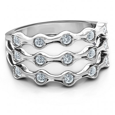 3 Row Fashion Wave Personalised Ring - AMAZINGNECKLACE.COM