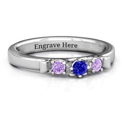 3-Stone Personalised Ring with Heart Gallery  - AMAZINGNECKLACE.COM