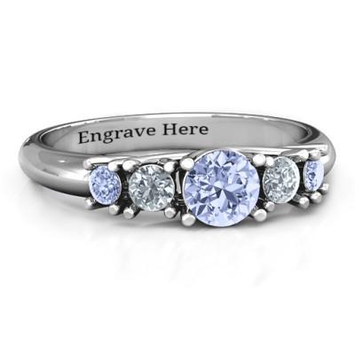 5-Stone Graduated Personalised Ring  - AMAZINGNECKLACE.COM