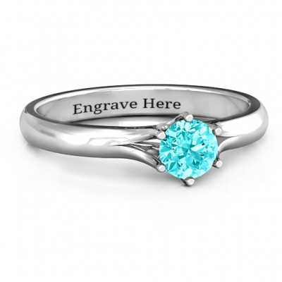 6 Prong Solitaire Personalised Ring - AMAZINGNECKLACE.COM