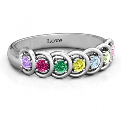 6 to 9 Stones in Halo Personalised Ring  - AMAZINGNECKLACE.COM