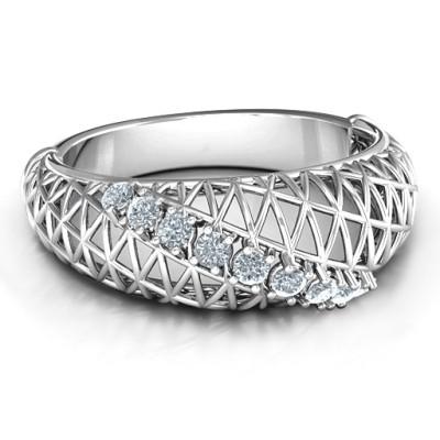 9 Stone Geometric Mesh Personalised Ring  - AMAZINGNECKLACE.COM