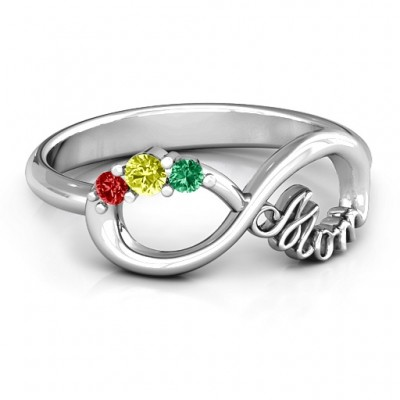 Mom's Infinite Love Personalised Ring with 2-10 Stones and 3 Cubic Zirconias Stones  - AMAZINGNECKLACE.COM