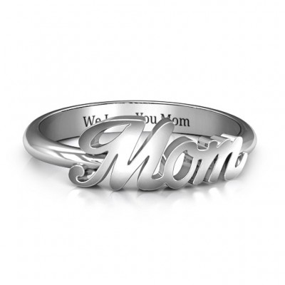 All About Mom Name Personalised Ring - AMAZINGNECKLACE.COM