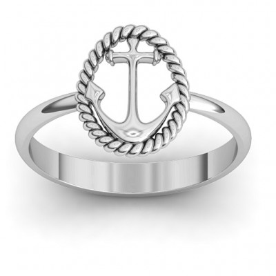 Anchor Personalised Ring - AMAZINGNECKLACE.COM
