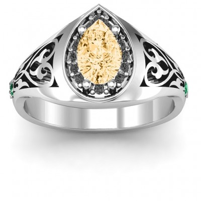 Aphrodite Personalised Ring with Side Gems - AMAZINGNECKLACE.COM